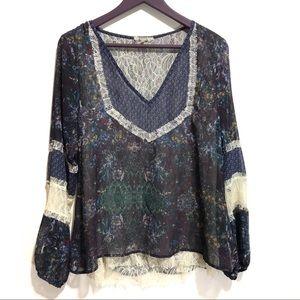 BKE Gimmicks Buckle BoHo Lace Mixed Print Top